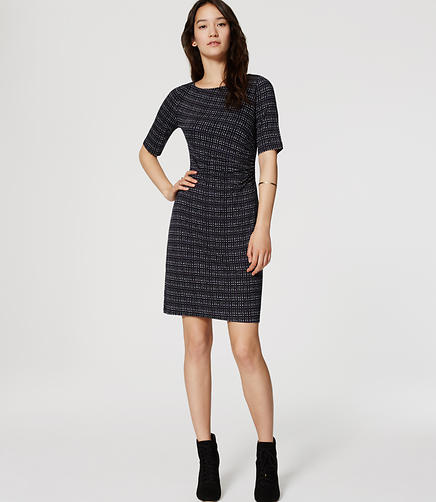 Image of Petite Lattice Side Shirred Dress
