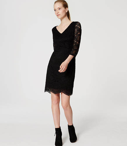 Image of Petite Lace V-Neck Dress