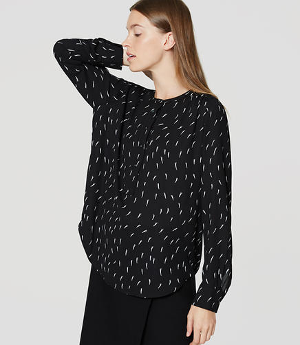 Image of Petite Dash Modern Henley Blouse