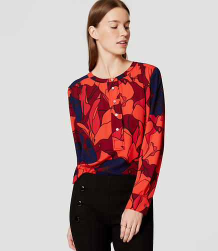 Image of Petite Silky Floral Modern Henley Blouse