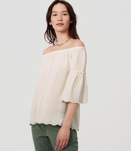Image of Eyelet Off The Shoulder Top