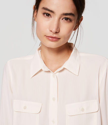 Image of Petite Shimmer Stripe Utility Blouse