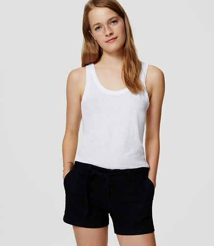 Image of Petite Denim Tie Waist Shorts