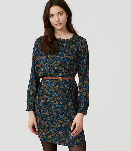 Image of Petite Shadow Floral Modern Henley Shirtdress