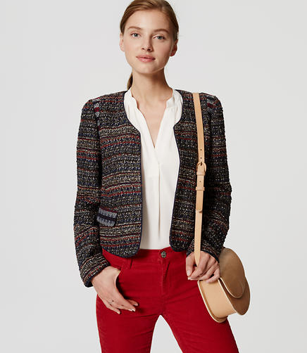Image of Petite Piped Boucle Jacket