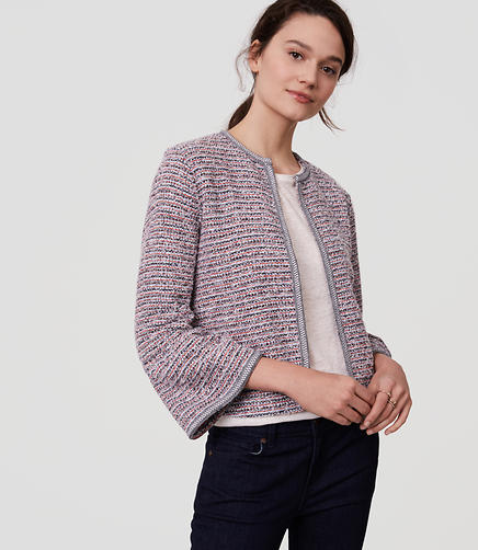 Image of Knit Tweed Bell Sleeve Jacket