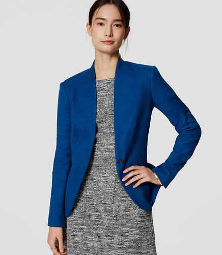 Image of Textured Collarless Blazer