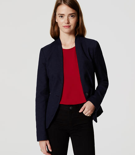 Image of Petite Textured Collarless Blazer