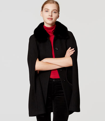 Image of Faux Fur Trim Cape