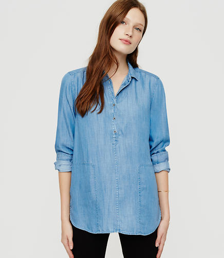 Image of Lou & Grey Chambray Henley Pocket Tunic