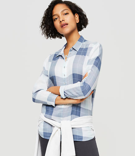 Image of Lou & Grey Plaid Henley Pocket Tunic