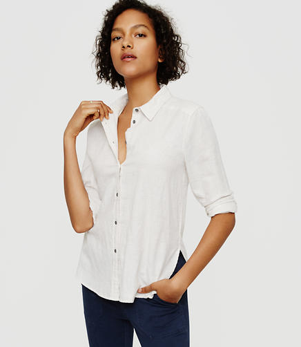 Image of Lou & Grey Heathered Button Down Shirt