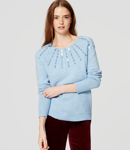 Image of Sequin Cable Sweater