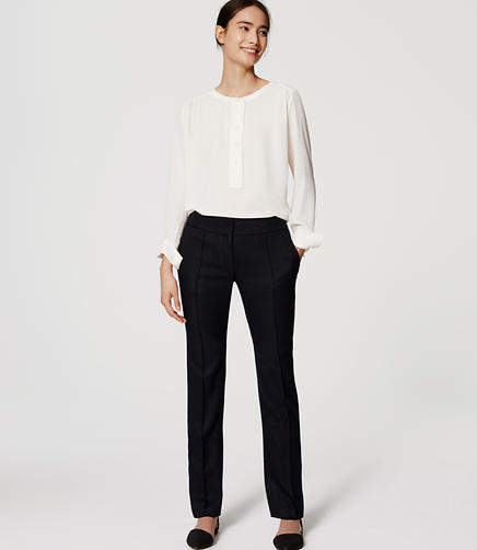 Image of Herringbone Pintucked Straight Leg Pants in Marisa Fit