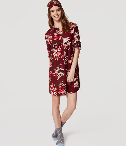 Image of Snow Bloom Pajama Shirtdress