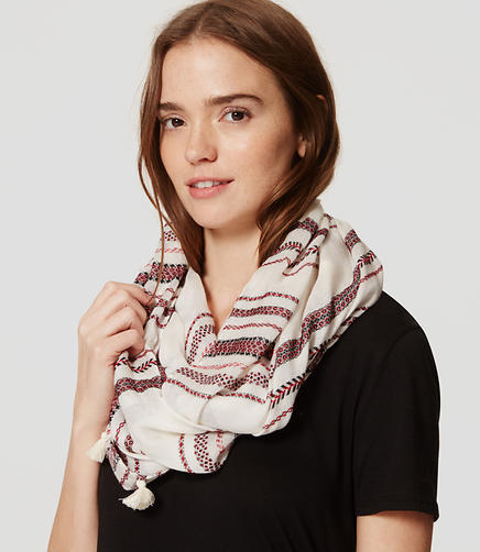 Image of Stripe Tasseled Infinity Scarf