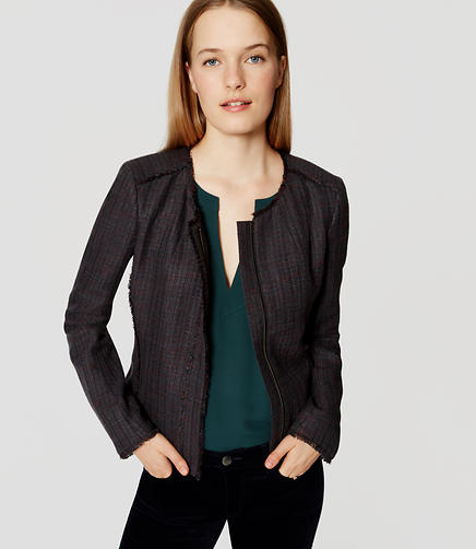 Image of Petite Fringe Tweed Zip Jacket