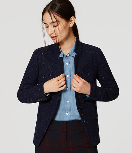 Image of Petite Speckled Tweed Notched Blazer
