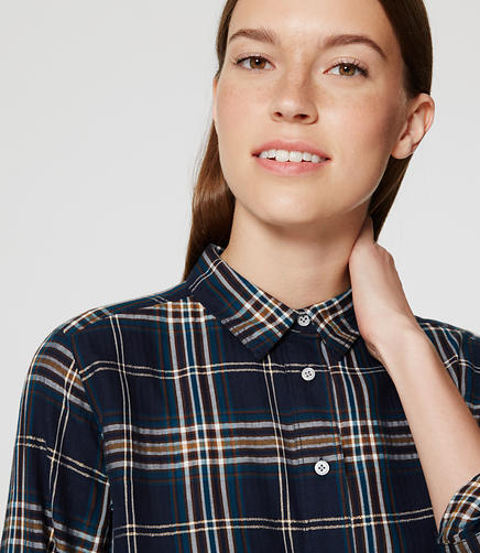 Image of Petite Shimmer Plaid Tunic Softened Shirt