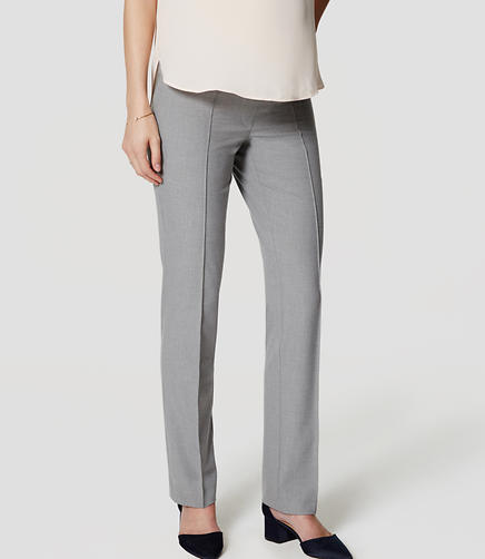 Image of Maternity Bi-Stretch Pintucked Straight Leg Pants