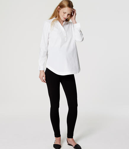 Image of Maternity Zip Pocket Pintucked Ponte Leggings