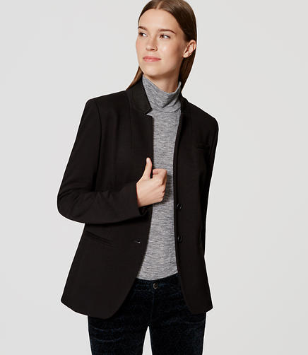 Image of Petite Two Button Knit Notched Blazer