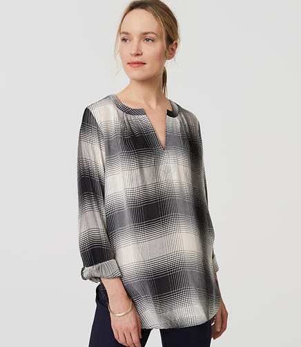 Image of Maternity Plaid Split Neck Shirt