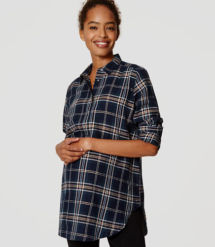 Image of Maternity Shimmer Plaid Tunic Softened Shirt