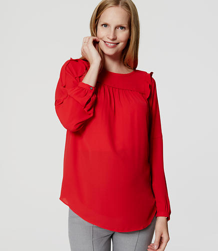 Image of Maternity Shoulder Ruffle Blouse