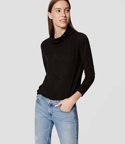 Image of Petite Cowl Neck Shirttail Tee