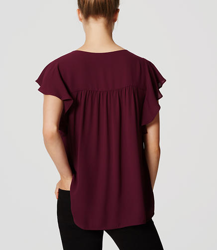 Image of Petite Split Neck Flutter Top