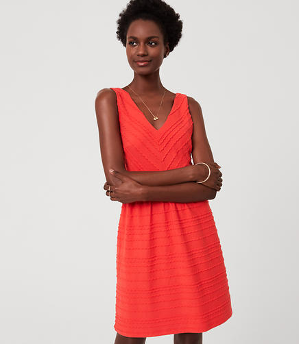 Image of Scalloped Stripe Flare Dress