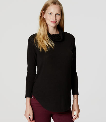 Image of Maternity Cowl Neck Shirttail Tee
