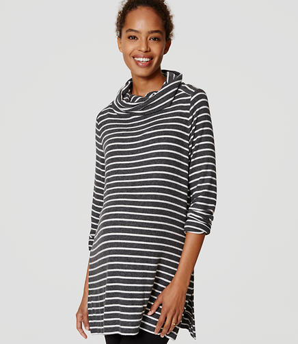 Image of Maternity Striped Cowl Neck Tunic