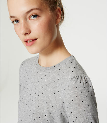 Image of Dot Puff Sleeve Sweater