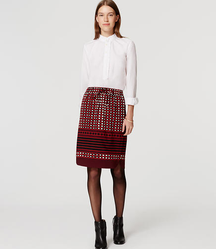 Image of Petite Square Stripe Pull On Skirt
