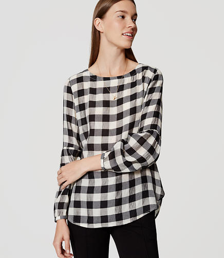Image of Petite Plaid Button Back Blouse
