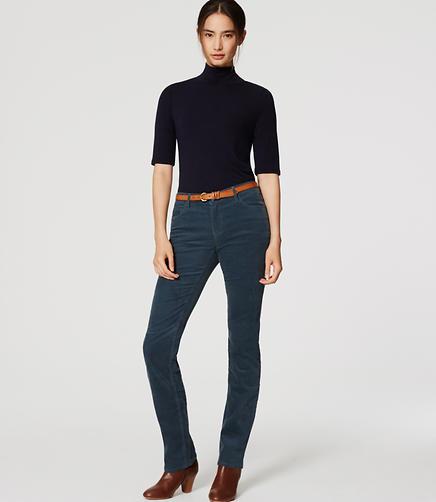 Image of Petite Modern Straight Leg Corduroy Pants