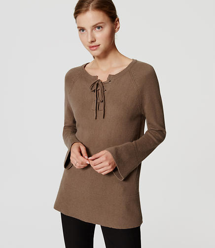 Image of Lace Up Bell Sleeve Sweater