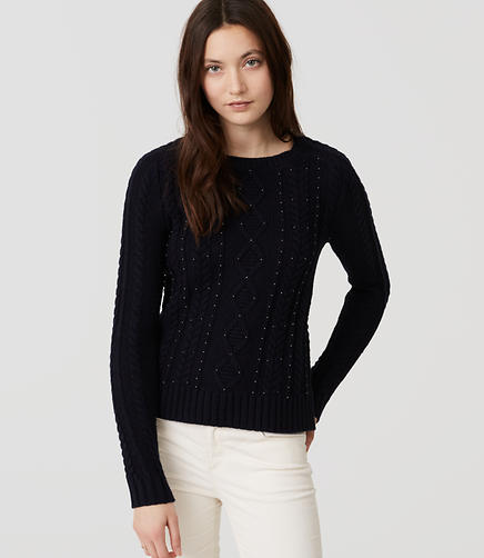 Image of Beaded Cable Sweater