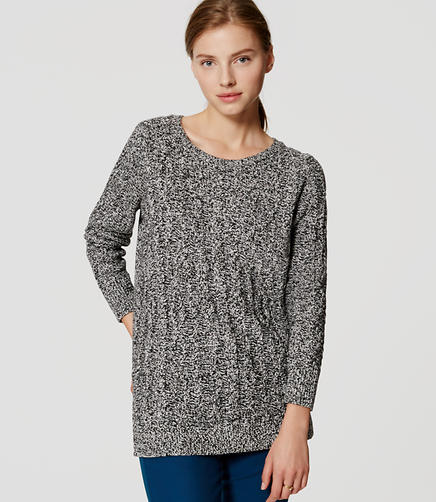 Image of Petite Marled Cable Tunic Sweater