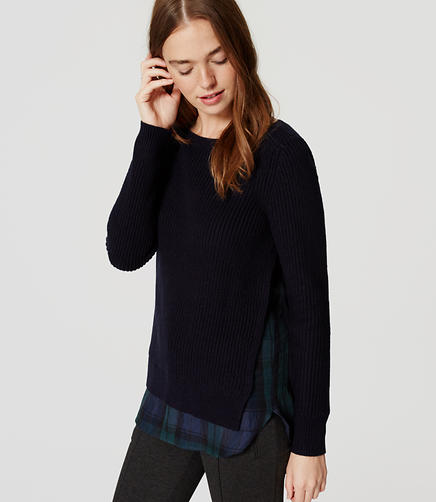 Image of Petite Plaid Ribbed Two-In-One Sweater