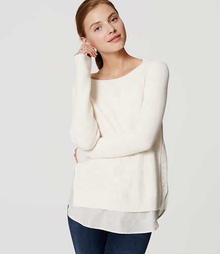 Image of Petite Ribbed Two-In-One Sweater