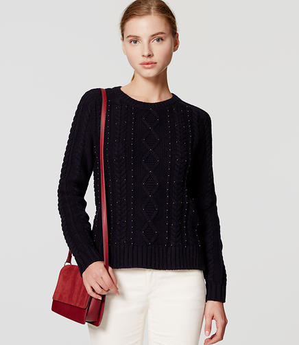 Image of Petite Beaded Cable Sweater