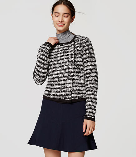 Image of Petite Striped Knit Moto Jacket
