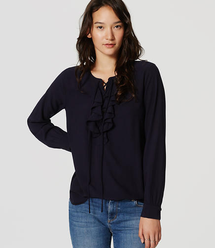 Image of Ruffled Lace Up Blouse