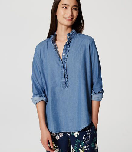 Image of Chambray Ruffle Henley Shirt