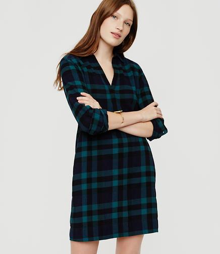 Image of Lou & Grey Plaid Pop-On Shirtdress