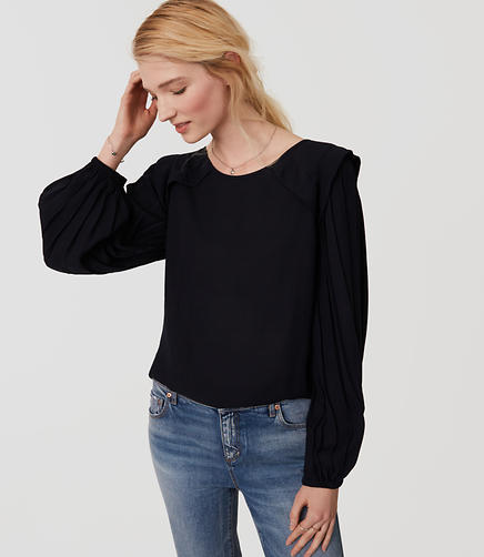 Image of Pleated Sleeve Blouse