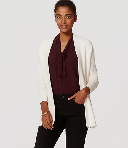 Image of Petite Back Ribbed Open Cardigan